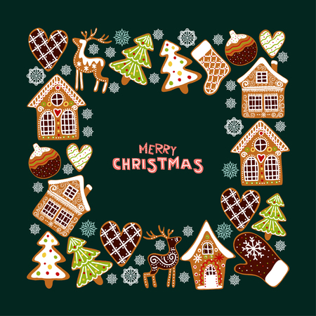 Illustration pour Gingerbread cookies background with an editable blank space in the middle. Christmas greeting card template. - image libre de droit
