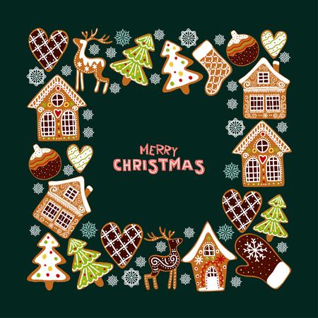Ilustración de Gingerbread cookies background with an editable blank space in the middle. Christmas greeting card template. - Imagen libre de derechos
