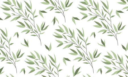 Illustration pour Seamless horizontal pattern with branches of a willow on a white background. Vector flat illustration - image libre de droit