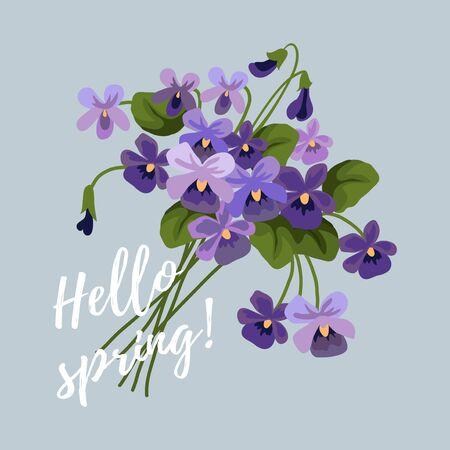 Illustration pour Spring vector illustration with flowers, bouquet of lilac cute violet - image libre de droit
