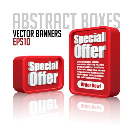 3D Plastic Abstract Banners Set Red
