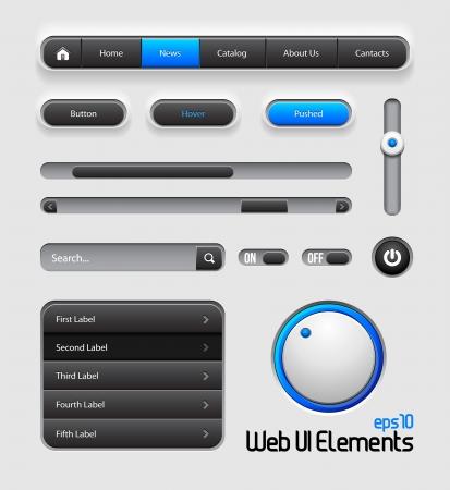 Web UI Elements Design Gray Blue