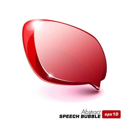 Illustration for Abstract Glass Speech Bubble Red - Royalty Free Image
