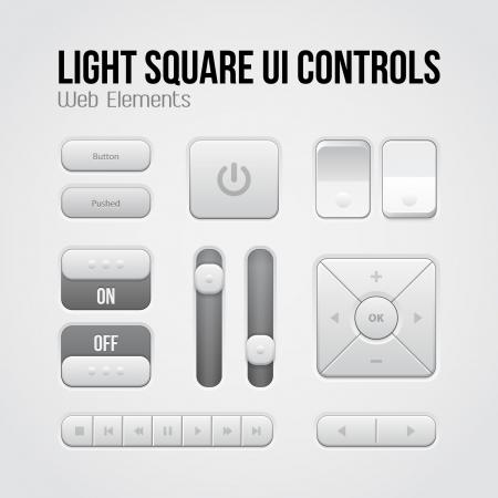 Illustration pour Light Square UI Controls Web Elements: Buttons, Switchers, On, Off, Player, Audio, Video: Play, Stop, Next, Pause, Volume, Equalizer, Arrows - image libre de droit