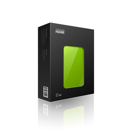 Black Modern Software Package Box With Green Window For DVD Or CD Disk