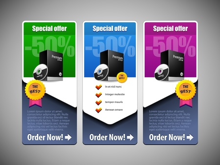 Illustration for Special Offer Banner Set Colored 21  Blue, Purple, Violet, Green  Showing Products Purchase Button - Royalty Free Image