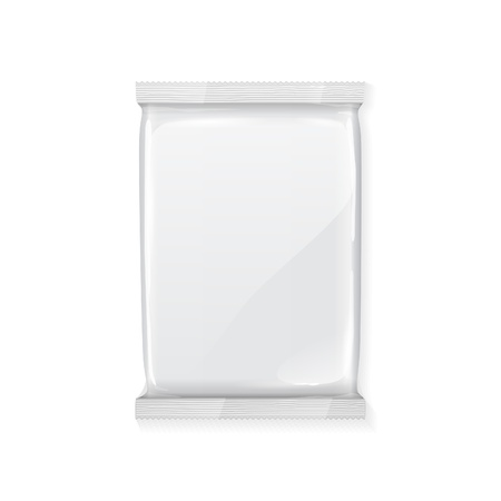 White Blank Foil Packaging Plastic Pack Ready For Your Design  Snack Product Packing
