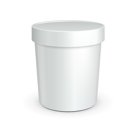 White Tub Food Plastic Container For Dessert, Yogurt, Ice Cream, Sour Sream Or Snack  Ready For Your Design  Product Packing Vector EPS10