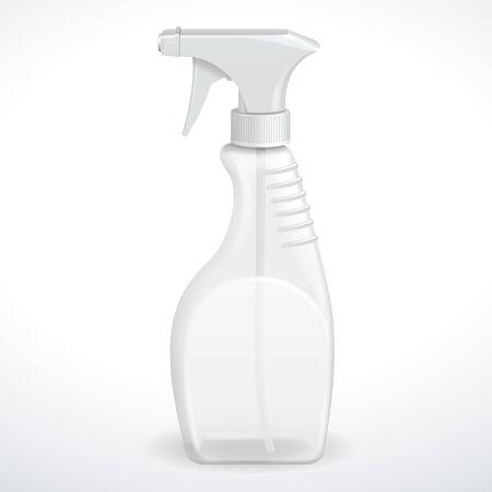 Spray Pistol Cleaner Plastic Bottle White Transparent  Vector