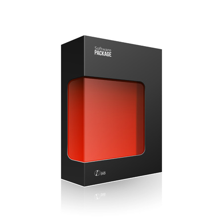 Black Modern Software Product Package Box With Red Window For DVD Or CD Disk
