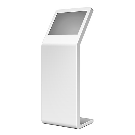 3D Outdoor White Metal Advertising Stand On White Background. Illustration Isolated On White Background. Vector EPS10