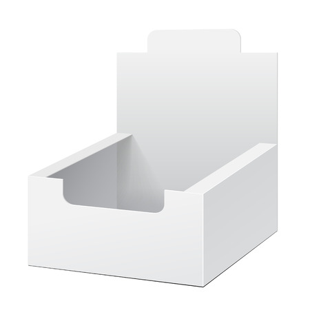 White Holder Box POS POI Cardboard Blank Empty Displays Products On White Background Isolated. Ready For Your Design. Product Packing. Vector EPS10