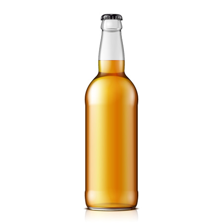 Illustration pour Mock Up Glass Beer Lemonade Cola Clean Bottle Yellow Brown On White Background Isolated. Ready For Your Design. Product Packing. Vector EPS10 - image libre de droit