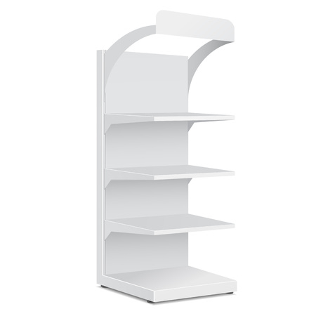 White Long Blank Empty Showcase Displays With Retail Shelves Products On White Background Isolated. Ready For Your Design. Product Packing. Vector EPS10