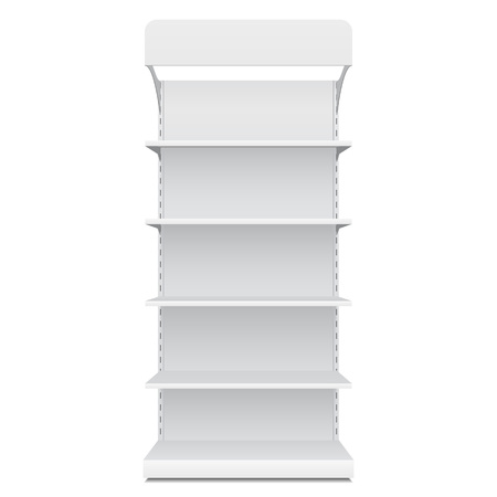 White Blank Empty Showcase Displays With Retail Shelves Front View 3D Products On White Background Isolated.