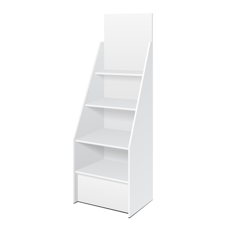Illustration pour White POS POI Cardboard Floor Display Rack For Supermarket Blank Empty Displays With Shelves Products On White Background Isolated. - image libre de droit