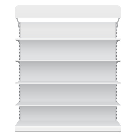 Illustration for White Long Blank Empty Showcase Displays With Retail Shelves Front View 3D Products On White Background Isolated. - Royalty Free Image