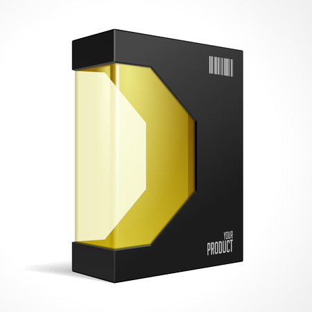 Black Modern Software Product Package Box With Yellow Orange Gold Window For DVD Or CD Disk. Mockup 3D Illustration On White Background Isolated. Ready For Your Design. Packing. Vector EPS10