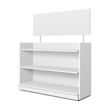 Illustration pour Blank Empty Showcase Displays With Retail Shelves, Trading Rack. Mock Up, Template. Illustration Isolated On White Background. Ready For Your Design. Product Advertising. Vector - image libre de droit