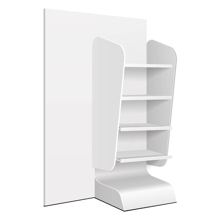 Illustration pour Cardboard Retail Shelves Floor Display Rack For Supermarket Blank Empty. Mock Up. 3D On White Background Isolated. Ready For Your Design. Product Advertising. Vector EPS10 - image libre de droit