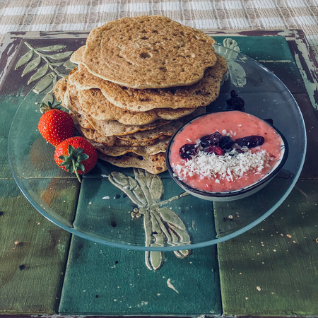 Health food. vegan pancakes for weight loss with yogurt. Fitness food