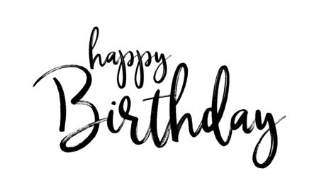 Illustration pour HAPPY BIRTHDAY. Handwritten modern brush lettering typography and calligraphy text. Vector design illustration. Black text - Happy Birthday on a white background. Template for greeting card, banner. - image libre de droit