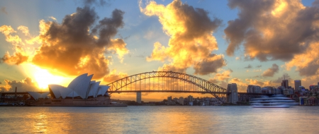 Sydney Harbour with Opera House and Bridge