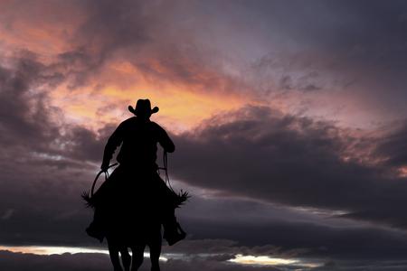 Photo pour Cowboy silhouette on a horse during nice sunset - image libre de droit