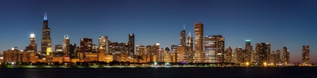 Chicago downtown city skyline at night and Michigan lake shore drive