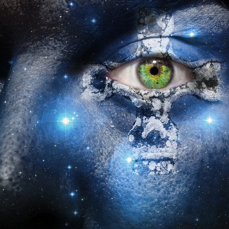 Face with seven sisters constellation and a Celtic cross