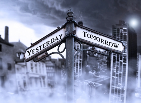 Arrows indicates Yersterday and Tomorrow with two different dramatic view: old and new city wrapped in fog in the background