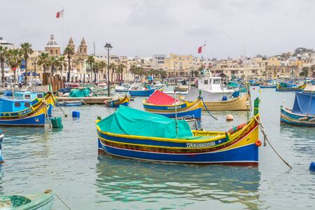Photo for Marsaxlokk is a picturesque fishing port on the island of Malta. - Royalty Free Image