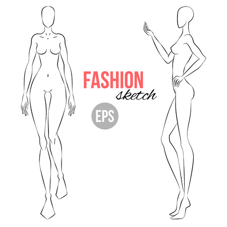 Ilustración de Vector outline girl model template for fashion sketching. Illustration of women's figure for designers of clothes. walking and standing girl. Front and side view - Imagen libre de derechos