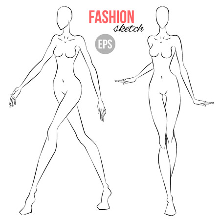 Ilustración de Vector outline girl model template for fashion sketching. Illustration of women's figure for designers of clothes. Girl walking. Front view - Imagen libre de derechos