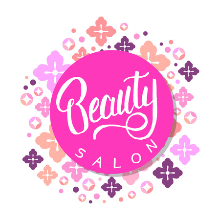 Beauty Salon Banner Hairdresser Badge Cute Background With Cherry Flowers And Circles Vector Template Royalty Free Vector Graphics