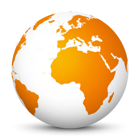 Illustration for World Globe icon Fresh orange color with smooth shadows.  - Royalty Free Image