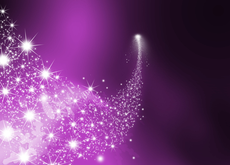 Abstract Bright Falling Star - Shooting Star with Twinkling Star Trail on Dark Violet Abstract Background - Meteoroid, Comet, Asteroid - Backdrop Graphic Illustration