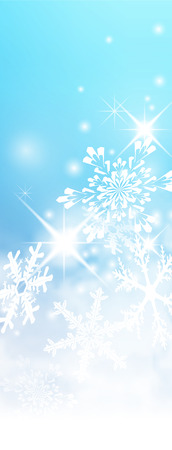 Abstract Light Blue, Turquoise - Vertical Winter Background Banner - with Snowflakes and Starlets. Cold and Foggy Backdrop with Soft Highlights and Snow Flakes.