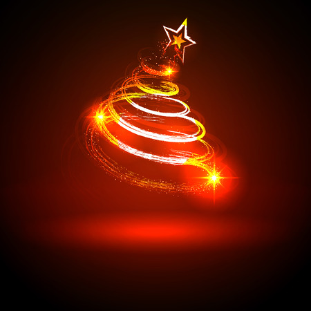 Abstract Twinkling and Neon Red Glowing Fir Tree on Dark Background - Christmas Greeting Card Template - Vector Illustration