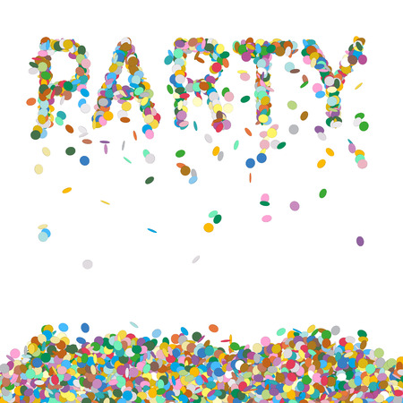 Abstract Confetti Word - PARTY Letter - Colourful Vector Illustration with Coloured Falling Paper Snippets - Particle Design