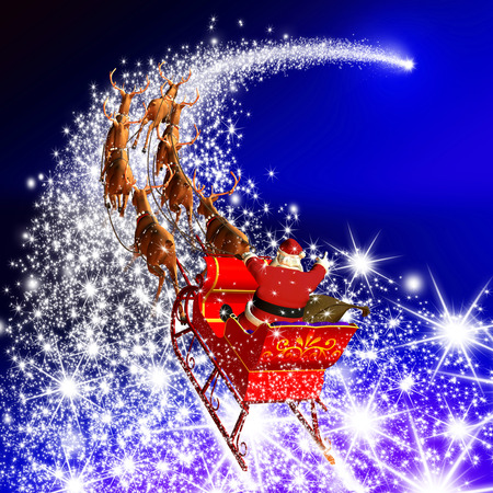 Santa Claus With Reindeer Sleigh Flying On A Falling Star Abstract