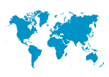 World Map Vector with Fresh Blue Continents on White Background - Planet Earth.