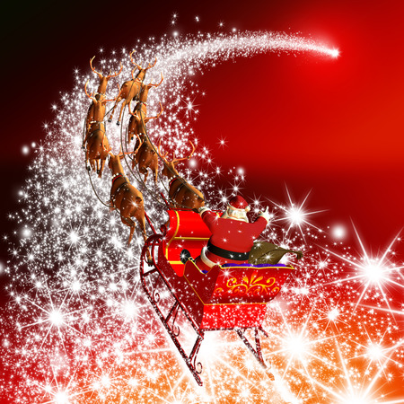 Photo pour Santa Claus with Reindeer Sleigh Flying on a Falling Star. Abstract Holiday Season Christmas Design with Red Gradient Background. Shooting Star, Meteor, Comet - X-Mas, XMas Greeting Card. - image libre de droit