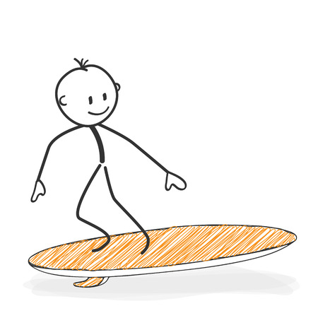 Stick Figure in Action - Stickman On a Surfboard Icon. He has Fun. Stick Man Vector Drawing with White Background and Transparent, Abstract Three Colored Shadow on the Ground.