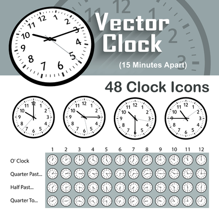 48 Classic Vector Clock Icons - 15 Minutes Apart. Useful for Illustrations with Specific Time Intervals. Save your Time and Use These Finished Icons for Your Own Ideas or Graphic Illustrations.のイラスト素材