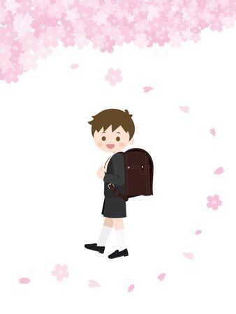 Illustration pour It Is An Illustration of an Entrance Ceremony Boy. - image libre de droit