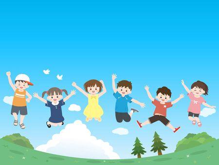 Illustration pour Kids jumping. - image libre de droit