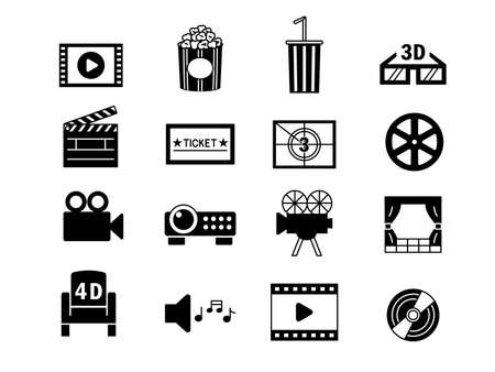 Illustration for It is an illustration of a Movie icon set. - Royalty Free Image