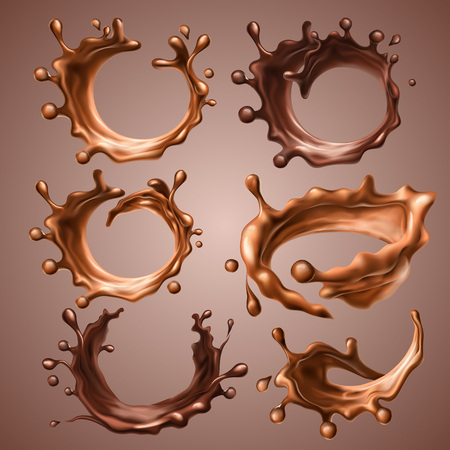Ilustración de Set of realistic splashes and drops of melted milk and dark chocolate. Dynamic circle splashes of whirl liquid chocolate, hot coffee, cocoa. Design elements for packaging. Vector 3d illustration. - Imagen libre de derechos