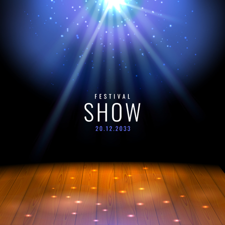 Realistic theater wooden stage or floor with spotlight Vector festive template with lights and scene. Poster design for concert, theater, party, dance, event, show. Illumination and scenery decoration